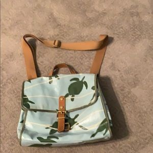 Fossil coated fabric satchel